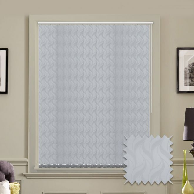Made to measure vertical blind in White Jacamar Waves Pattern Fabric - Just Blinds